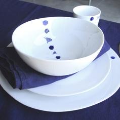 Assiette en porcelaine blanche (par 4) Deep Blue Athezza
