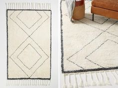 A patterned rug is a subtle way to add a decorative touch that won't overwhelm a modern farmhouse interior. #ModernFarmhouse #ModernFarmhouseRug #PatternedRug #RugIdeas #HomeDecor