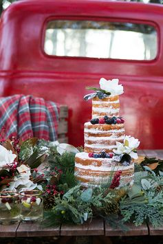 Naked Christmas cake | Rustic Christmas Wedding | Shelly Taylor Photography