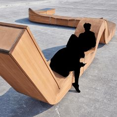Hello Wood created a line of unconventional outdoor furniture with smart functions for public spaces. The City Snake is a modular structure; its elements are variable to fit the given site.  #PublicFurniture #StreetFurniture