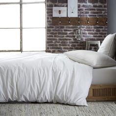 Parure de lit 2 pers. en coton blanc avec galon dentelle gris
