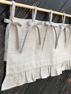 Linen Curtains French Country Chic Cottage Ruffle Valance Simple Rustic  Window Treatment Natural Flax Linen Kitchen Curtain Farmhouse Decor