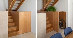 Storage Ideas - This small house includes a cabinet underneath the stairs that runs the depth of the stairs. The cabinet is large enough to hide a bike, and provides a place to display decorative items and plants. #HiddenStorage #UnderStairStorage #BikeStorage #InteriorDesign #StairDesign #StorageIdeas