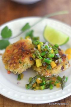 shrimp cakes with asparagus salsa