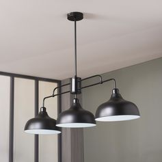 Cette suspension design adopte un style résolument industriel.  #suspension #cuisine #eclairage