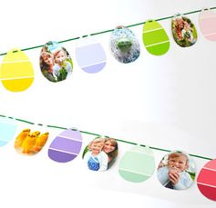 Easter Photo Garland - Upcycle the paint chips you've collected over the years for this photo garland. You can even use photos on your phone by printing them using the My Kodak Moments app. Download it for iOS or Android --> http://kodak.ly/1bJai1N  #Easter #photo #photography #DIY #craft #project #inspiration #idea