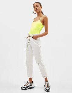 Strappy neon bodysuit | Bershka  #newin #trend #trendy #cool #fashion #outfit #ideas #inspiration #look #woman #mujer #new #in #bershka #bershkacollection #moda #neon #fluor #tendencia #trend