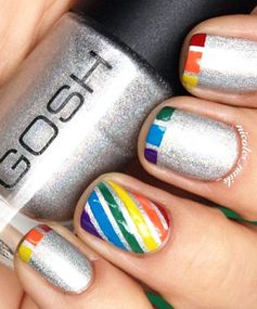 Rainbow Nails: Silver Rainbow Nail Art