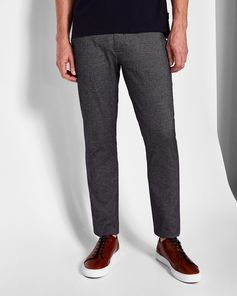 Slim Fit Textured Cotton Trousers