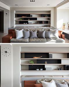 Placing The Sofa In The Middle Of The Living Room Created An Opportunity For A Home Office Behind It