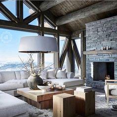"""Mi piace"": 6,190, commenti: 70 - Vibeke J Dyremyhr (@interior_delux) su Instagram: ""Oh la la Chalet love #chalet #livingroom #cabin #cabinlove #aroomwithaview #hytteliv #stue…"""