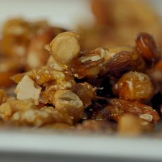 Salted Caramel Nuts from Barefoot Contessa. Preheat the oven to 350 degrees. Combine the nuts on a sheet pan