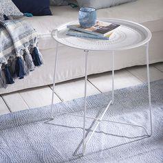 Table métal plateau ajouré blanc mat