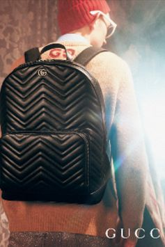 Featured in the Gucci Gift 2018 campaign, the GG Marmont backpack is presented in a classic shape with a front zip pocket and multiple interior pockets. Crafted from chevron matelassé leather and treated for a vintage effect, the accessory is enhanced by the Double G hardware, inspired by an archival design from the '70s.