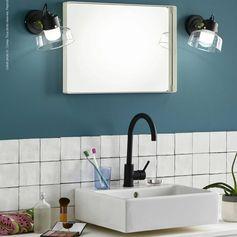 Applique de salle de bain Métal & Verre Noir/Laiton Ø21cm - MAKO Applique Corep Design | Lampes Design LightOnline