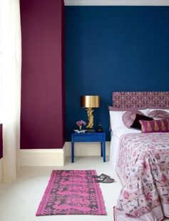 violet and blue glamorous Bedroom | Blue and purple bedroom colour scheme - paint walls ... | Bedroom