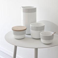 Pot de conservation porcelaine blanche et bois Stitches Menu : Decoclico