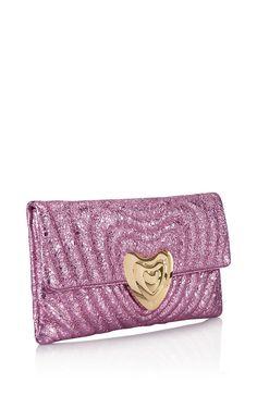 Metallic Leather Heart Clutch Bag