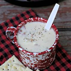 I made this Easy Slow Cooker Clam Chowder while camping this last weekend. I remember the last time I made clam chowder