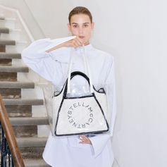 Our signature logo tote gets a modern update with a layer of clear monogram—this season's go-to statement. All of our transparent accessories are made from innovative non-PVC materials, which are less harmful to the environment.  #StellaMcCartney #StellasWorld