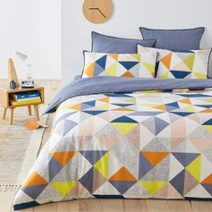 La Redoute Interieurs Anatole Printed Duvet Cover. The multicoloured diamonds in this harlequin patterned duvet cover are bright and fun. It's contemporary design that's delightful and stylish too. {affiliate link} #bedding #contemporarybedding