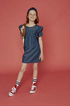 Short flutter sleeves add to the easy charm of this chambray A-line dress accented with contrasting trim.