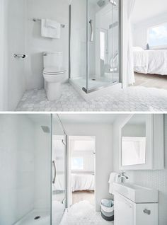 A small white bathroom with hexagonal floor tiles.