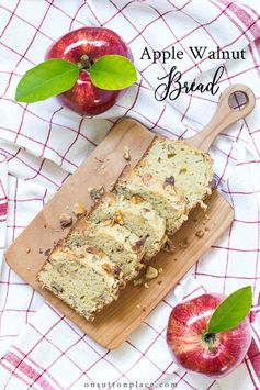 Any easy apple bread recipe that has no butter or oil, and no white sugar. Fresh apples and walnuts add texture and taste! #applerecipe #applebread #quickbread