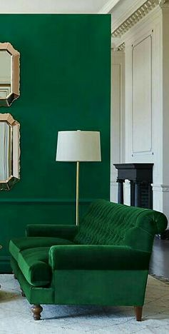 Emerald green living room decor