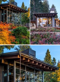 This modern house has deep overhanging eaves with exposed cedar rafters, offering protection from the weather and connecting to rain chains,   aiding with the flow of rainwater into the garden. #OverhangingEaves   #DeepEaves #ModernArchitecture #ExposedRafters #CedarRafters   #HouseDesign #PacificNorthwest