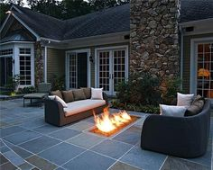 What an original way to build in the fireplace in the terrace!