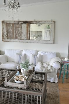 What Is Art? and a Giveaway with bHOME by Buckets of Burlap blog Farmhouse, vintage door, artwork, family room, white sofa