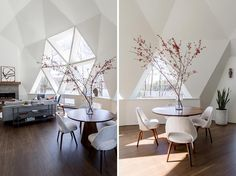 The newly updated interior of this geodesic dome house features bright white walls and modern furnishings feature throughout, like in the living room. The fireplace, which sits next to a large section of windows, has a limestone surround topped with a custom oak mantel that complements the hardwood flooring. #GeodesicDome #LivingRoom #Fireplace #TriangleWindows #CasualDining