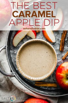 This is the BEST Caramel apple dip ever! This homemade caramel apple dipping sauce is perfect for fall. #saltandbaker #caramel #apples #fall #carameldip