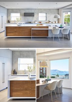 This modern kitchen has plenty of windows, minimalist cabinets, and white countertops with matching white furniture to ensure that the space is bright and welcoming. #ModernKitchen #KitchenDesign #KitchenIdeas #BrightKitchen