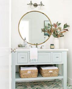 Bathroom Mirror Round Plants