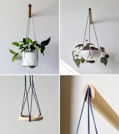 A hanging planter with a modern design.