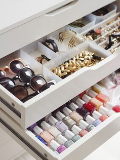dividers in closet drawers to store and organize accessories (sunglasses, jewelry, nail polish)
