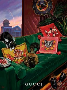 Cushions embroidered with animals:Gucci Décorpieces forGucci Gift, illustrated in a lavish living room byIgnasi Monreal.