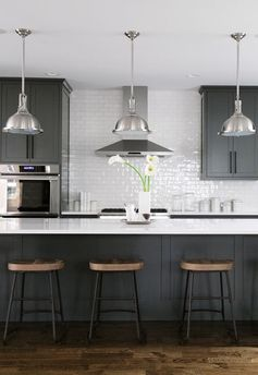 black, white, grey, wood kitchen with oversized kitchen…