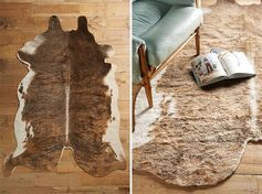 Faux cow hide rugs are a great way to get the look you want with faux materials like felt and tufted faux fur. #FauxCowHide #ModernFarmhouse #HomeDecor #FauxCowHideRug