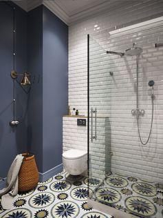 """интерьер ванной с плиткой """"кабанчик""""                                                                                                                                                                                 Plus"""