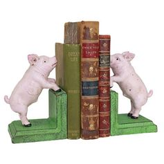 Design Toscano Piggy in a Pen Sculptural Bookend - Set of 2 | Hayneedle