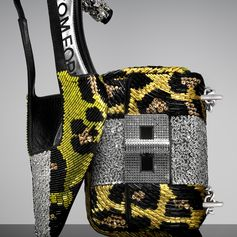 The black and yellow Crystal Animalier Slingback and Mini Natalia. #TOMFORD