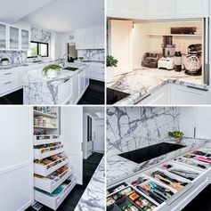 Renovation broker Blakes of Sydney, has shared a modern white and grey kitchen design with us, that showcases a variety of storage and organization ideas. #KitchenDesign #KitchenIdeas #KitchenStorage #KitchenOrganization