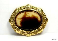 ANTIQUE ART DECO CAMEO BROOCH PIN VINTAGE ART GLASS FAUX GEMSTONE * #Antique