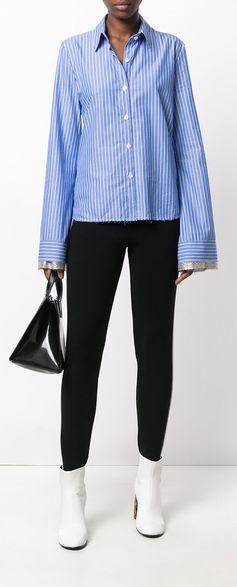 AVIÙ striped elongated sleeve shirt, explore the latest arrivals on Farfetch now.