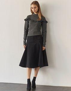 LE CIEL BLEU ラッフルタートルニット/Wメルトンテントスカート