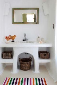 traditional cycladic bathroom worktop