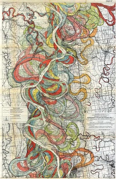 Vintage maps trace the meandering Mississippi River